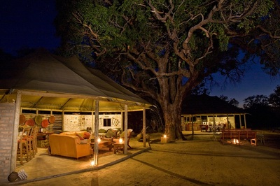 Main area at Little Makololo at night, Hwange National Park