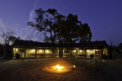 Main area at Davison's camp, at night. Hwange National Park