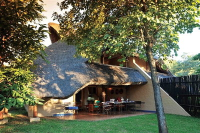 Exterior of accommodation at Lokuthula Lodges, Victoria Falls