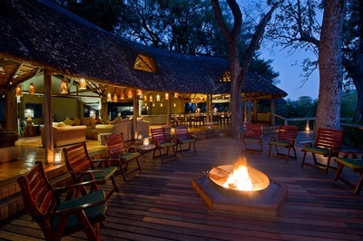 Fire pit and main lodge area at Xigera, Moremi Game Reserve, Botswana
